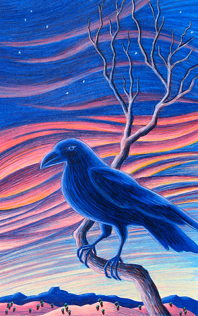 raven at sunset