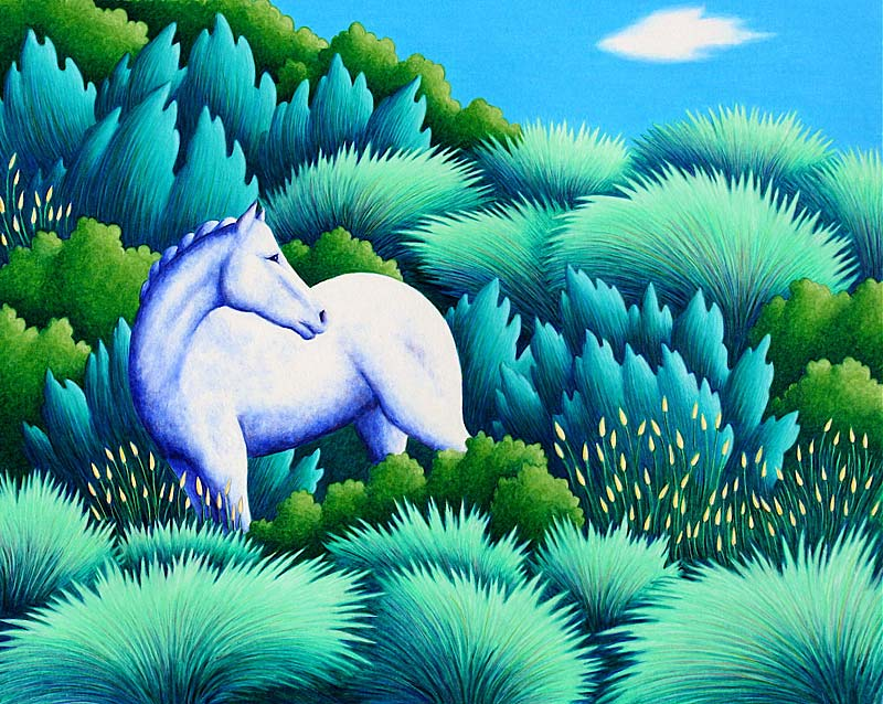 White Horse Color Pencil Drawing